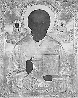Ікона св.Миколи Мокрого в окладі